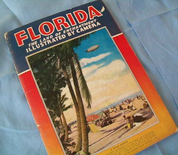 SALE - Vintage Florida book, travel, 1940s, 1930s, G. W. Romer, Land of Enchantment, Manhattan Post Card Publishing Company, New York