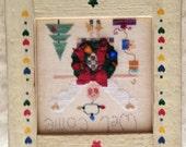 Christmas Wreath Folk Art Cross Stitch Angel