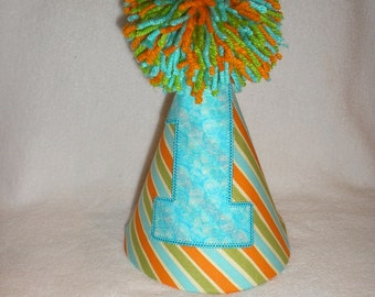 Birthday Party Hat Orange Aqua Green Birthday Party Hat