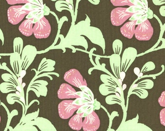1 Yard Sweet Jasmine in Brown from Daisy Chain by Amy Butler SALE
