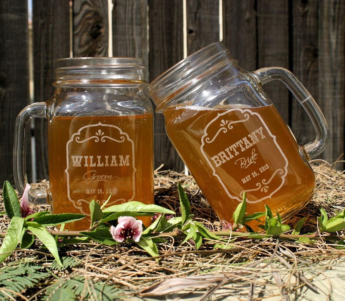 Mason Jars Rustic Wedding Decorations: Wedding Favors Personalized Mason Jar Mugs Rustic By