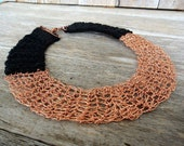 Crochet Wire Necklace - Bib necklace, copper wire, USA Black cotton, Egyptian collar, mixed media, crochet copper wire jewelry (N3)