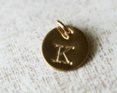 Gold Initial Charm - Personalized Monogram, Custom Letter Charm Add On, 14K Gold Fill Disc Pendant