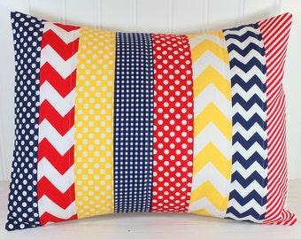 Nursery Pillow Cover, Baby Boy Room Decor, Nursery Pillow, Boy Nautical Nursery Decor, 12 x 16 inches, Yellow, Navy Blue, Red Chevron Dots