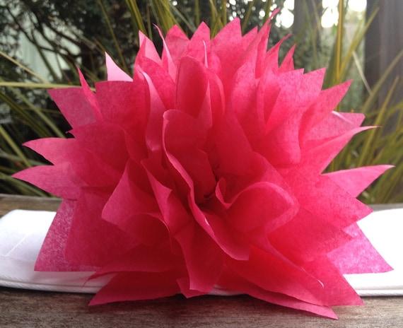 25 Boysenberry Pink Paper Dahlia Napkin Holders.Eco wedding, hip parties, babies, wine night. Tissue paper Pom Pom flowers
