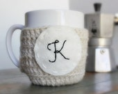 Personalized Coffee Mug Cozy Tea Cosy cream black white crochet cover monogram name initial Letter K