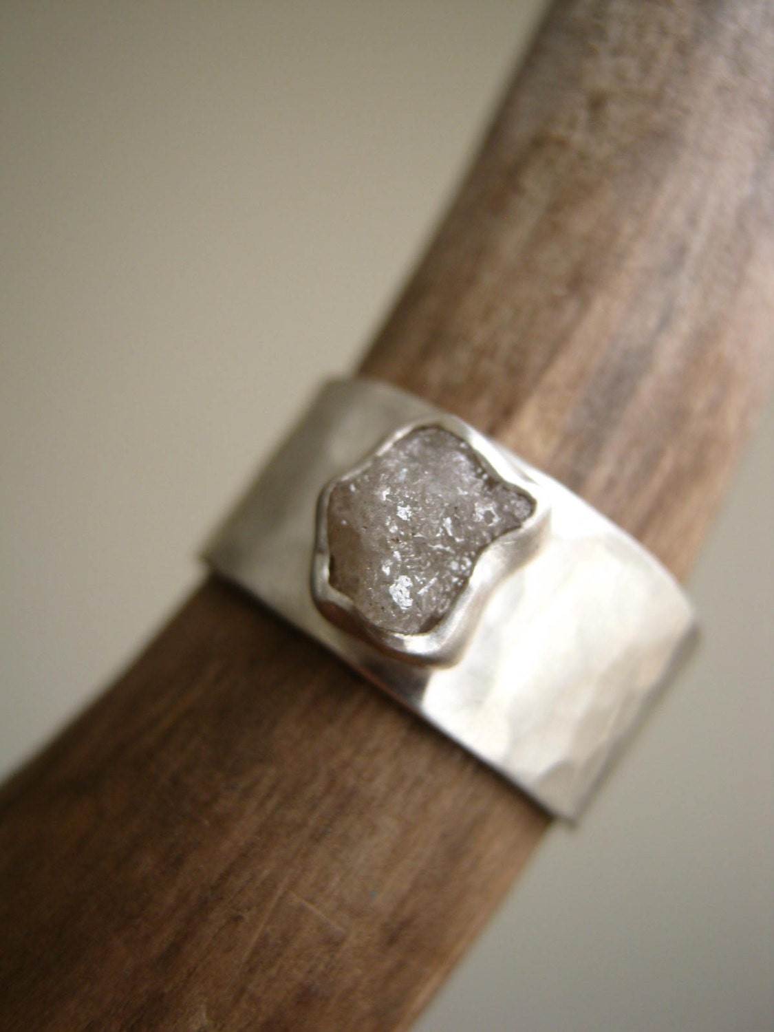 Rough Diamond On Wide Hammered Band 1 15 1 36 Ct By