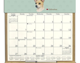 2018 CALENDAR - Chihuahua Dog Wooden  Calendar Holder filled with a 2018 calendar & an order form page for 2019.