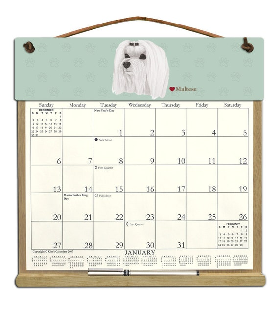 2016 CALENDAR - Maltese Dog Wooden Calendar Holder filled with a 2016 ...