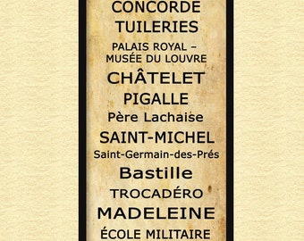 "Paris Metro Subway Sign Bus Scroll Grunge Sepia12"" x 36"" Poster Print"