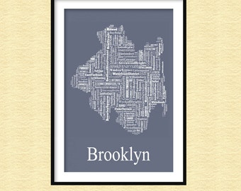Brooklyn New York Typography Map Print