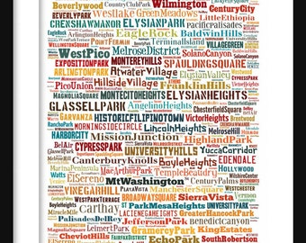 Los Angeles Map - Typography Neighborhoods of Los Angeles Poster Print