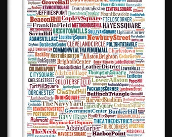 Boston Map - Typography Neighborhoods of Boston Print