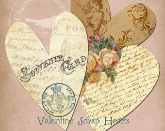 Scrap Hearts Collage Sheet Digital Download
