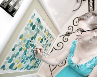 Turquoise Alt Guest Book watercolor painting - Guestbook wedding PARTICLES original painting