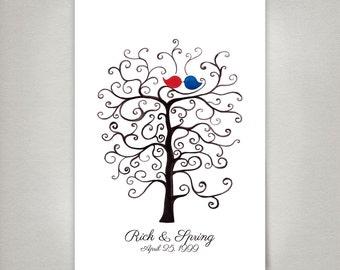 Watercolor Fingerprint wedding tree Custom Wedding Guest Book alternative print