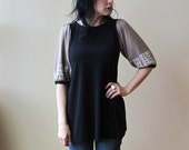 Women's Tunic Top, Black & Pale Gold with White Print, Puff Sleeves, Bamboo Jersey, Modern Bohemian Style- made to order