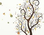 Autumn Colors Watercolor Tree Art Nature Print, Fall Whimsical Tree Print 8 x 10, Green, Yellow, Orange