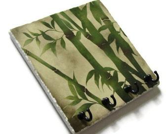 Green Decor Japanese Bamboo Art Key Hook, Wall Hook Jewelry Organizer, Key holder, Key Rack, Natural Colors, Earthtones Nature Art