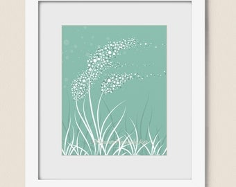 Blowing Grass Abstract Living Room Wall Art, 8 x 10 Teal Home Decor, Sea Foam Green, Nature Art Print  (191)