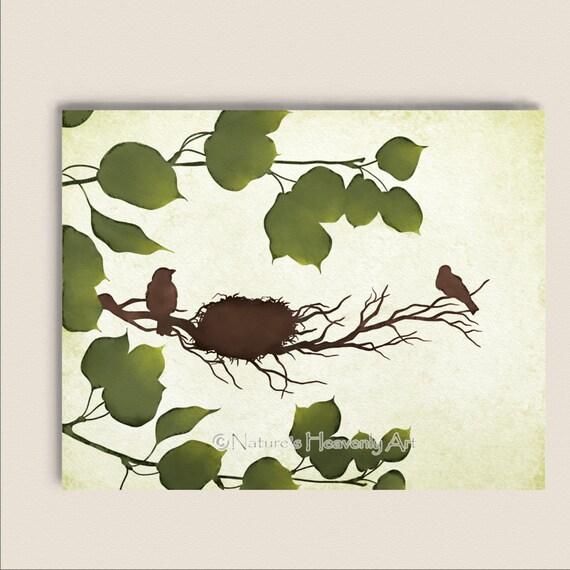 Spring Tree Wall Decor : Spring bird nest in tree wall art earthy by naturesheavenlyart
