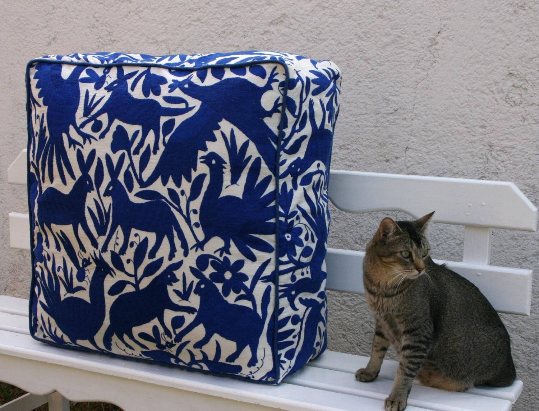 cobalt blue pouf ready to ship original floor cushion. Black Bedroom Furniture Sets. Home Design Ideas