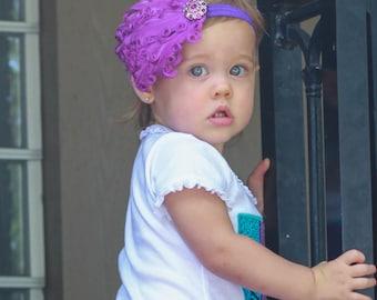 Baby Girl Headband Purple Feather Headband with Rhinestone Accent