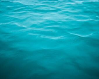 Ocean Photo, Water Photography, Large Abstract Teal Blue Art Print, Coastal Living Beach House 11x14