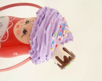 Cupcake Headband with Marshmallow photography prop ,first birthday party hat , tea party hat  and for cupcake costume purple icing