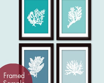 Underwater Sea Coral Collection (Series E) -Set of 4 - Art Prints (Featured in Oceanic Blue, Paris Blue, Blue Linen and Glacier)