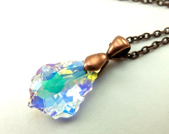 Copper Necklace Crystal Pendant Clear Crystal Dark Copper Jewelry Beaded Necklace