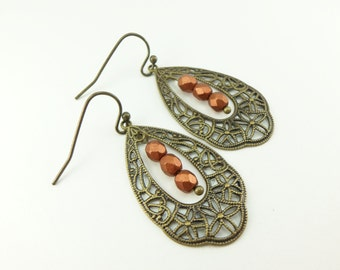 Burnt Orange Earrings Rust Colored Jewelry Brass Dangle Earrings Victorian Jewelry