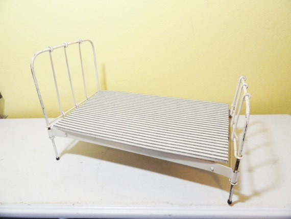 Vintage Toy Metal Doll Bed 19 Long White Iron Bed Look