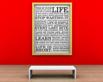 Vinyl Lettering  New SUBWAY ART  -This is your life -  large size 23 x 30 inches - 1633B