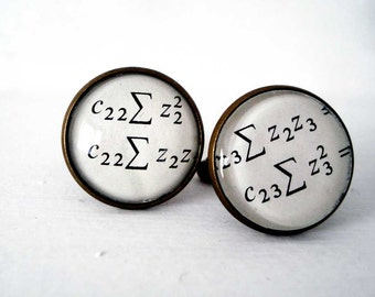 Maths Geek Cufflinks, Equation Cuff Links
