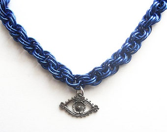 Evil eye necklace, Blue eye jewelry, Chainmaille double spiral weave