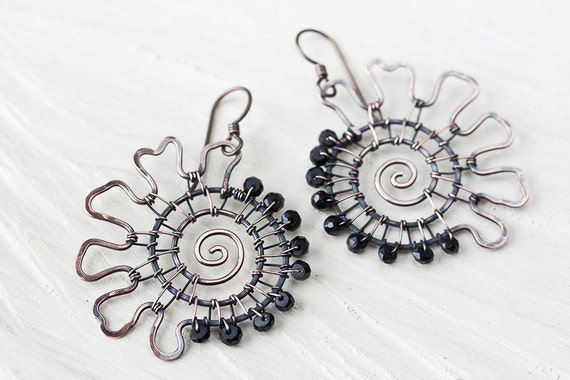 Unique Black Spinel Copper Earrings - Asymmetric Wire Wrapped Spiral with Black Spinel Gemstone Beads - artisan wirework gemstone jewelry