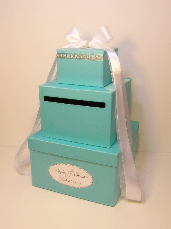 Wedding Gift Box Tiffany Blue : Tiffany Blue 3 tier Wedding Card Box Gift Card Box Money Box Holder ...