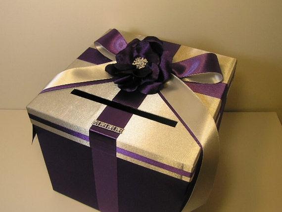 Wedding Gift Box Holder: Wedding Money Box Silver And Purple Card Box Gift Card Box