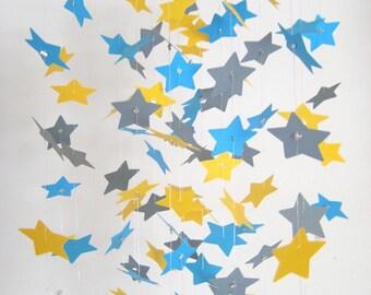 Star Nursery Mobile yellow grey blue