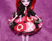Custom Outfit For Monster High Doll Pink Black XOXO Dress Skirt Clothes OOAK