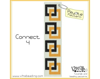 Peyote Pattern for bracelet: Connect 4 - INSTANT DOWNLOAD pdf -Discount codes are available