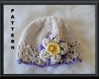 Knitted Hat Pattern Baby Hat Pattern Newborn Hat Pattern Infant Hat Pattern Easter Hat Pattern Baby Hat with Flower: EASTER COLORS