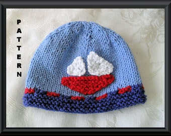 Sailboat Hat Pattern Baby Hat Pattern Knitted Hat Pattern Baby Sailboat Hat Nautical Baby Hat : SAILOR MADE