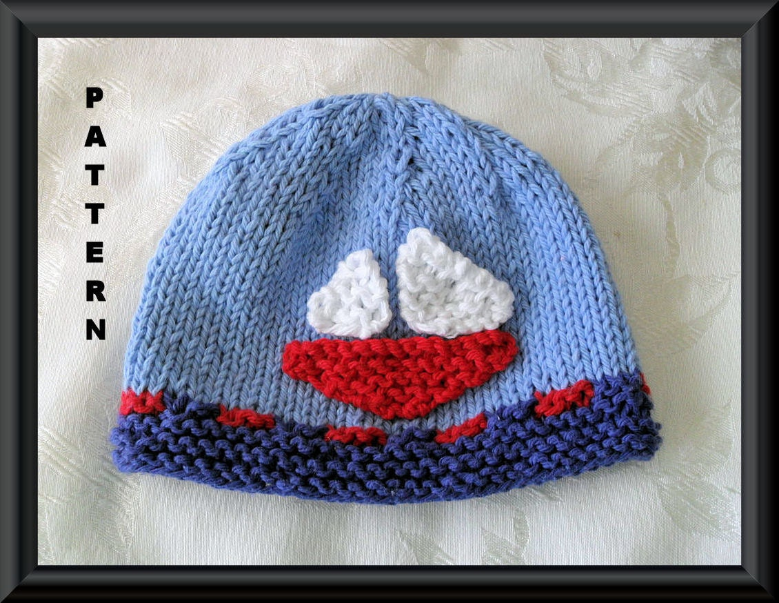 Sailboat Hat Pattern Baby Hat Pattern Knitted Hat Pattern Baby