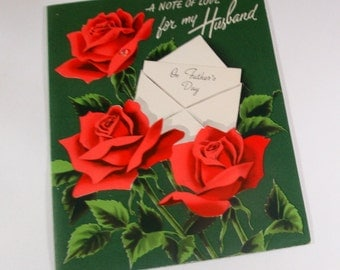 Vintage Father's Day Card, For My Husband, Red Roses, Norcross Greeting Card   (93-13)