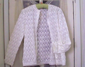 vintage 60s lacy white pointelle cardigan