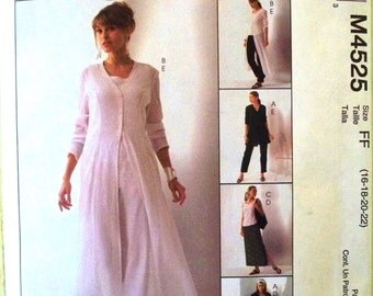 easy mccalls non-stop wardrobe pattern 4525 - misses unlined jacket, duster, top, skirt and pants - (2004) - UNCUT