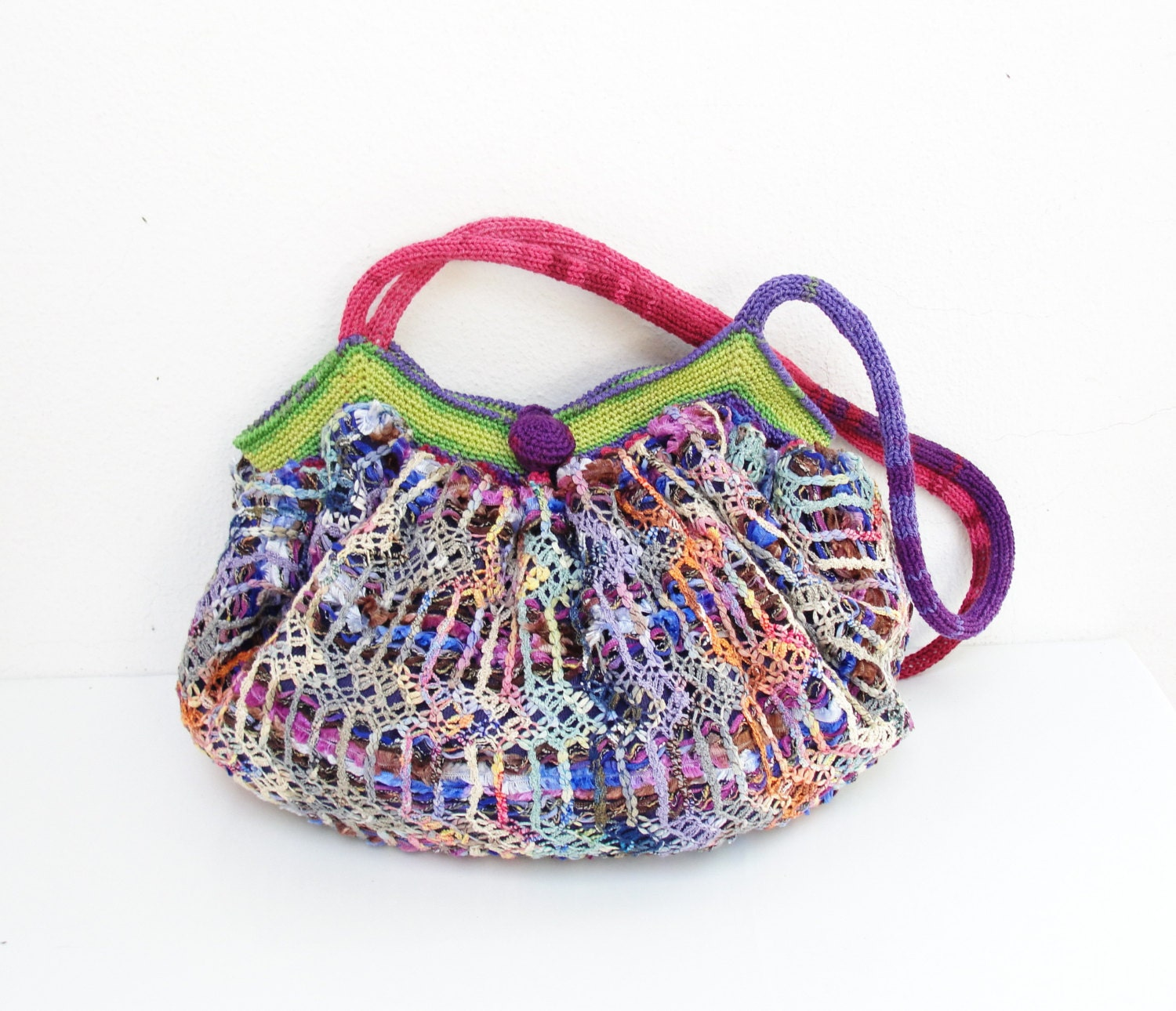 Knitting Pattern Hobo Bag : Happy Hobo Bag Knit fabric and crochet details by StarBags on Etsy
