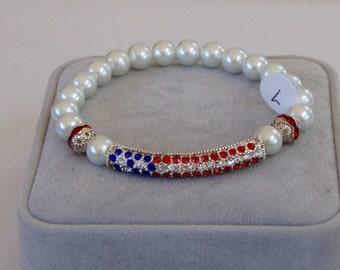 Rhinestone American Flag Bracelet, 4th of July